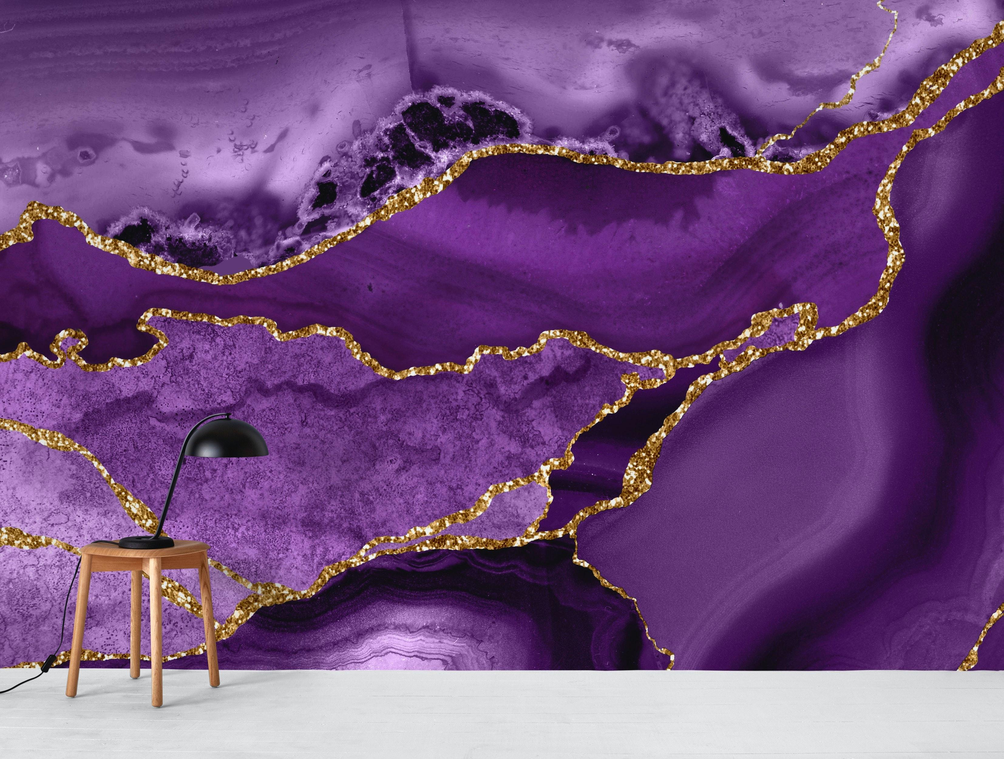 Buy Purple Gold Marble Mosaic Wallpaper Free Us Shipping At Happywall Com