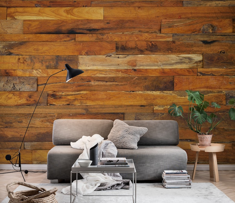 Wooden panel Wall mural Photo wallpaper Brown Happywall
