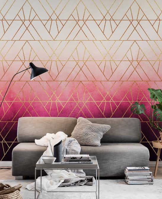 Pink Ombre Triangles Wall mural | Photo wallpaper - Happywall