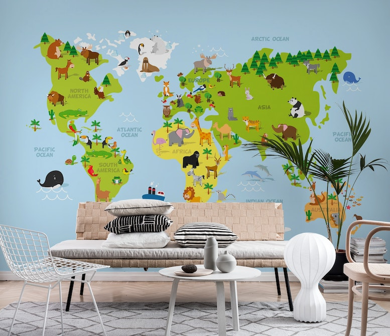 World map kids Wall mural Photo wallpaper Blue Happywall
