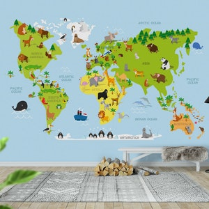 World map kids wall mural photo wallpaper blue happywall gumiabroncs Images