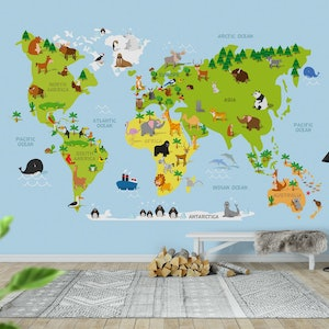 World map kids wall mural photo wallpaper blue happywall gumiabroncs Image collections