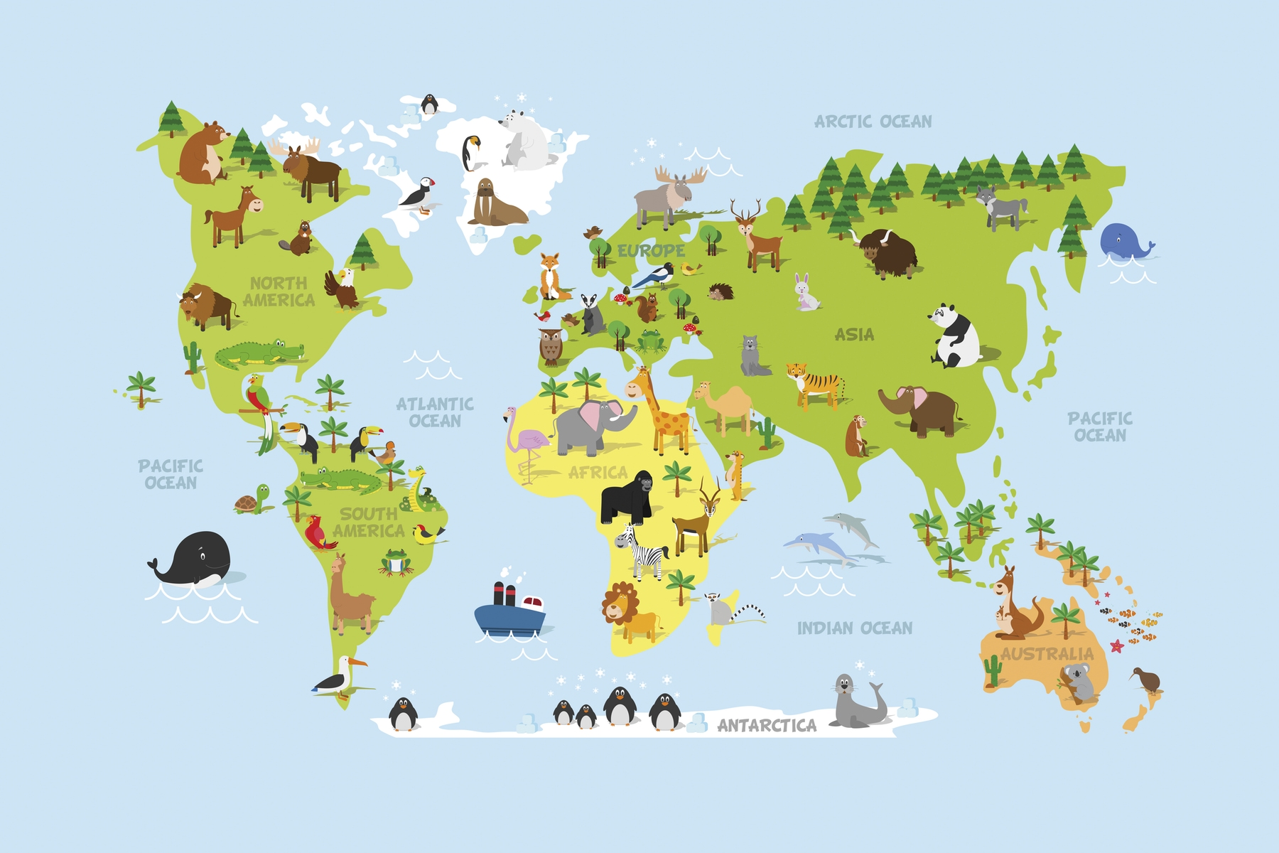 Buy World map kids wall mural - Free US shipping at Happywall.com