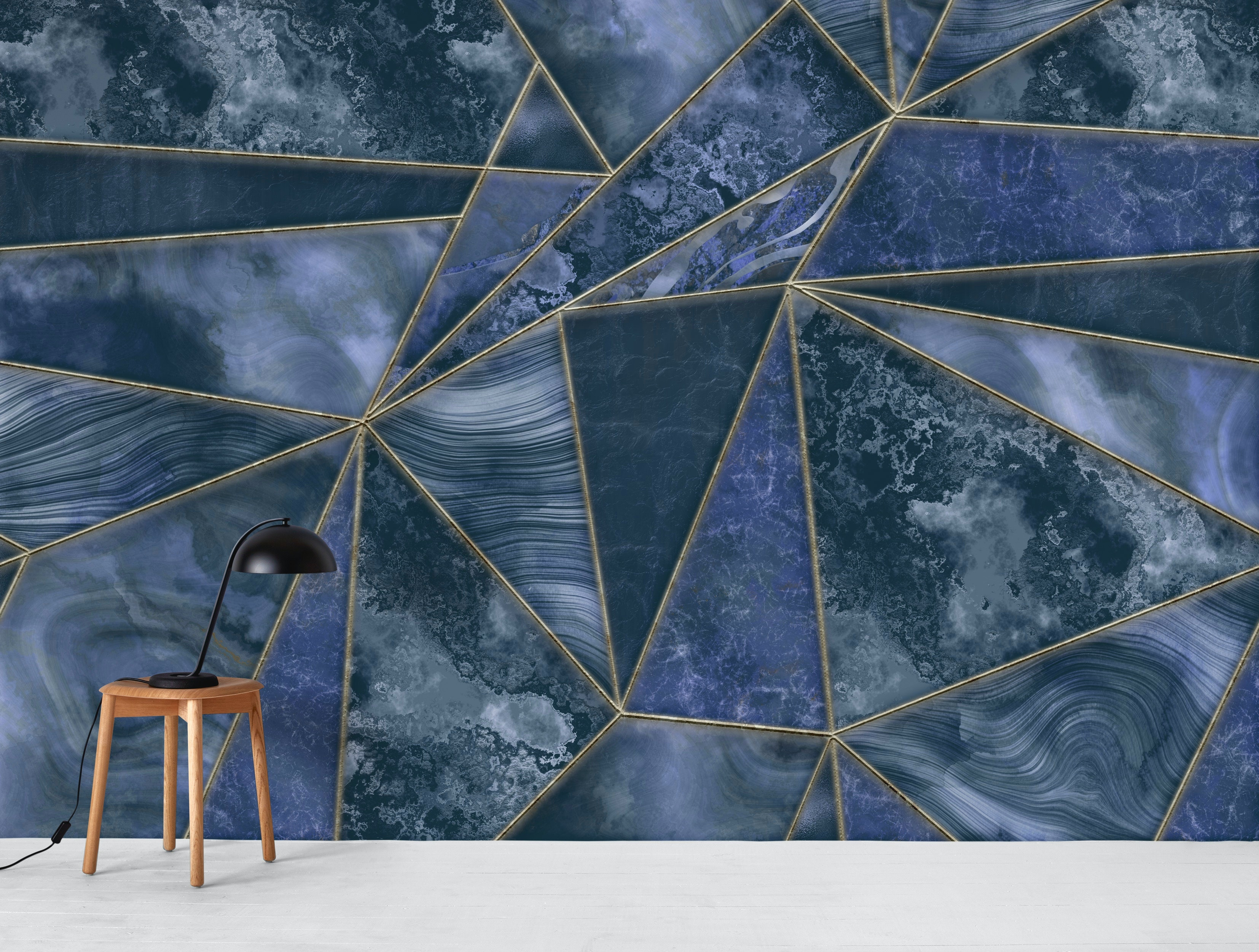 Buy Stained Glass Marble Navy Blue Wallpaper Free Us Shipping At Happywall Com