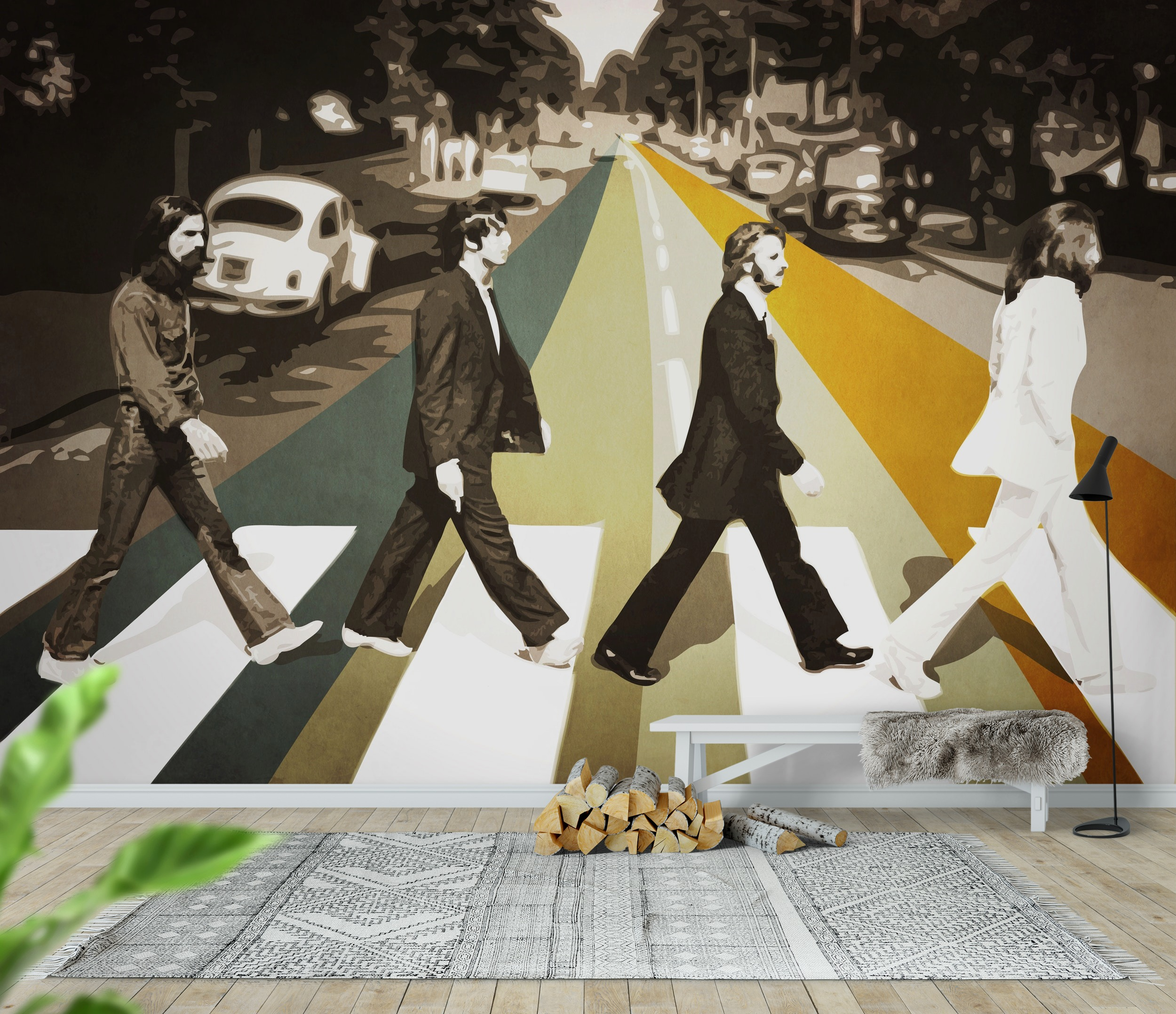 Wall mural abbey road photo wallpaper the beatles for Abbey road mural