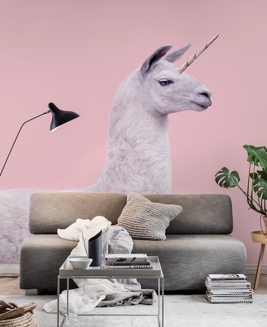 LAMA UNICORN Wall mural Photo wallpaper Happywall