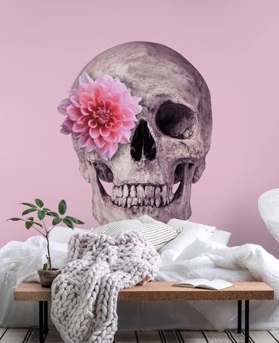 Buy flower skull wall mural free us shipping at happywall flower skull wall mural mightylinksfo