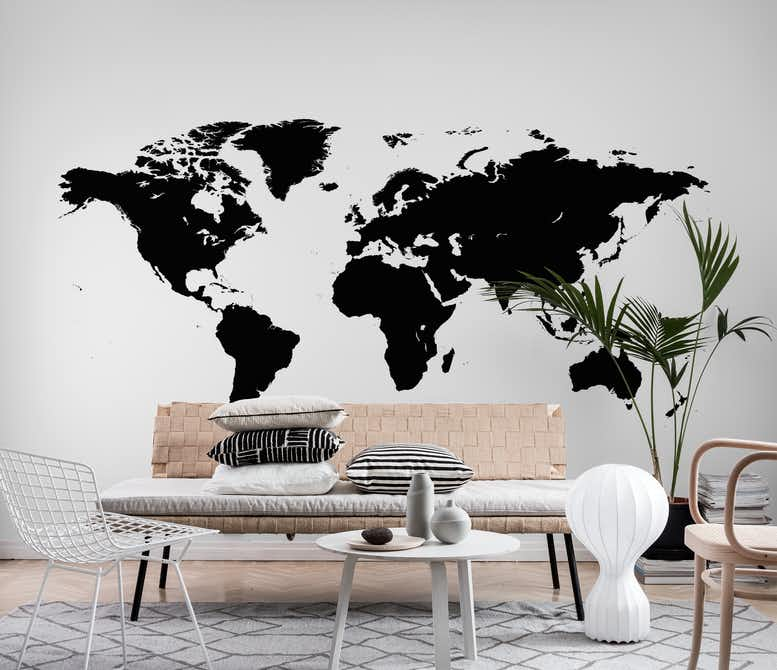 World map black wall mural photo wallpaper hall happywall world map black wall mural gumiabroncs Images