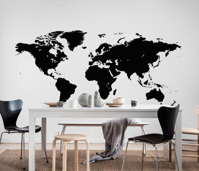 Wallpaper world map black wall mural hall bedroom happywall world map black wallpaper gumiabroncs Gallery