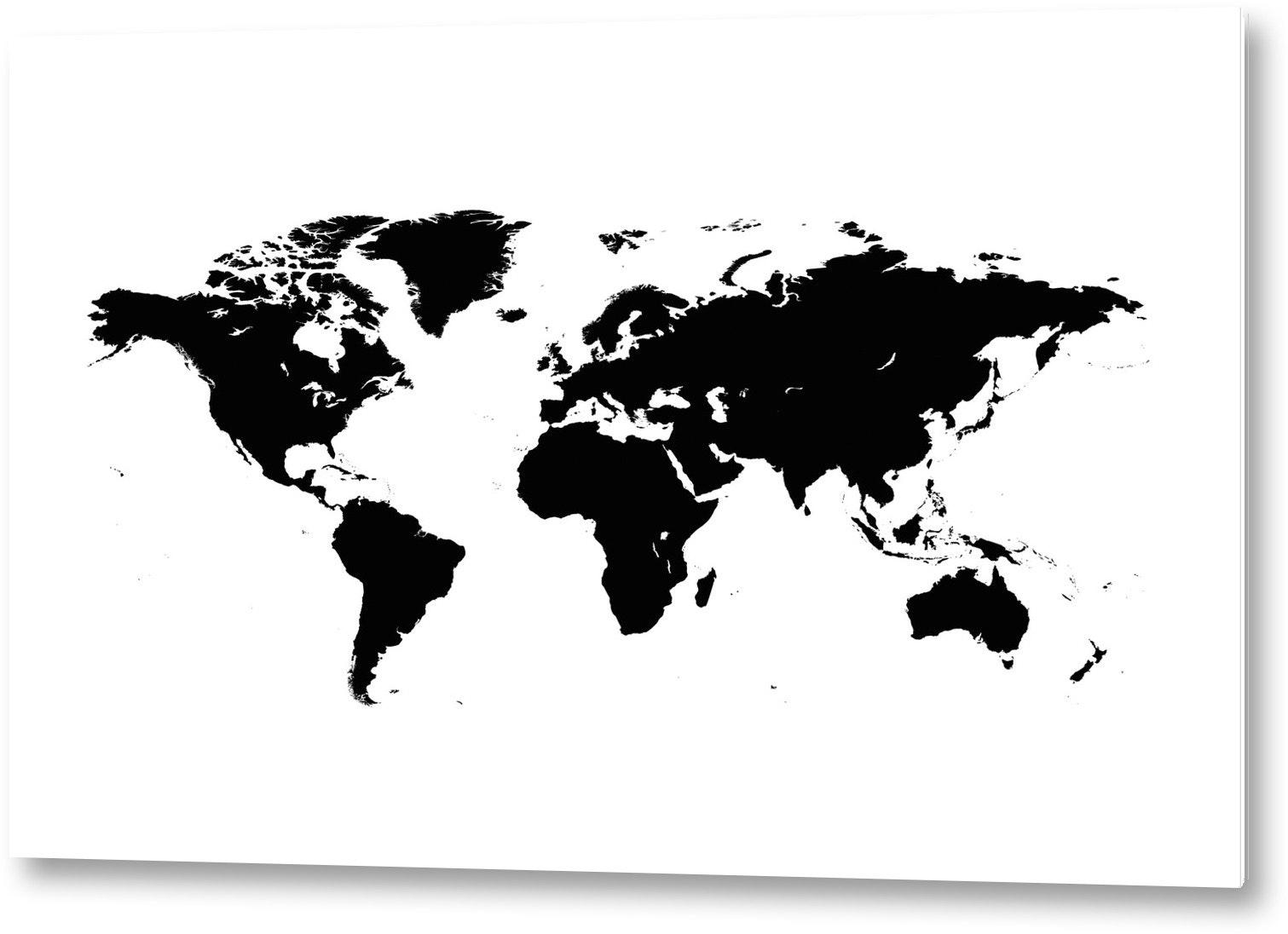 Världskarta svart Aluminium