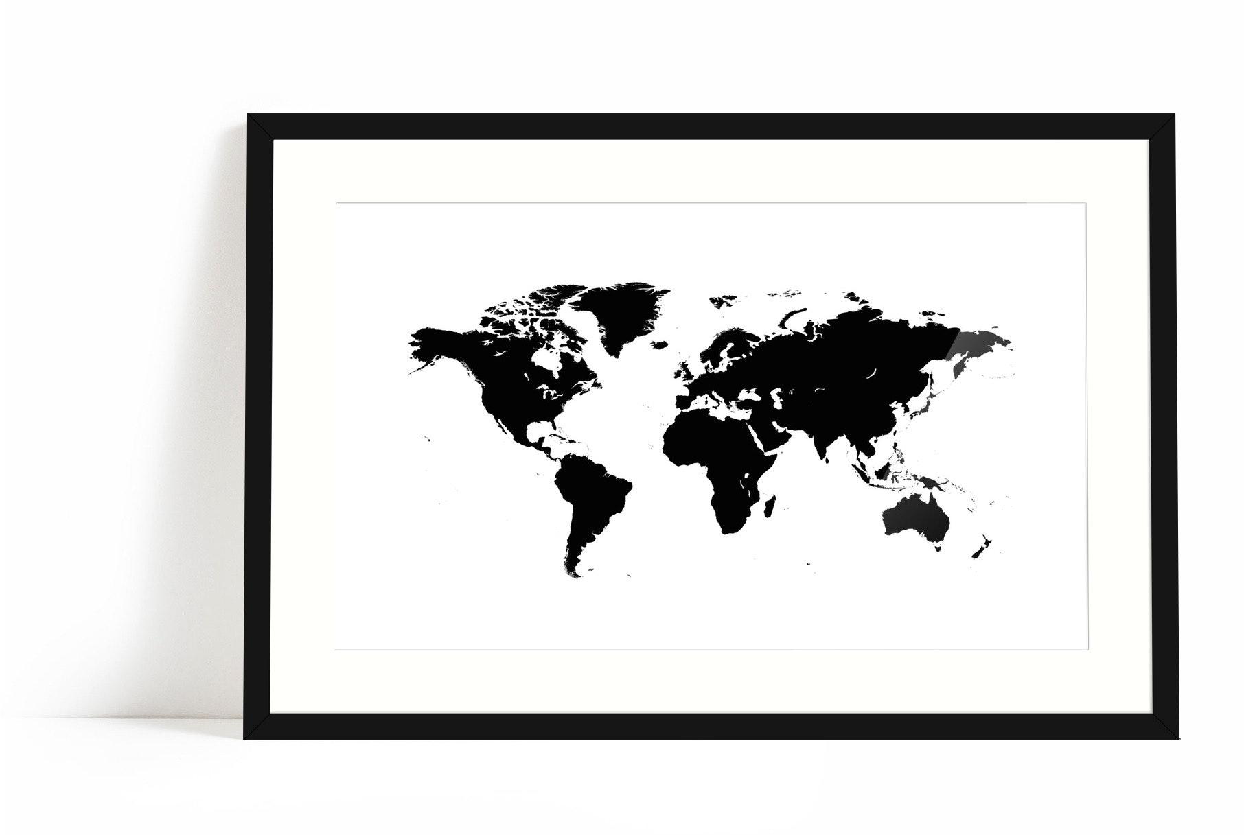Världskarta svart Fine Art