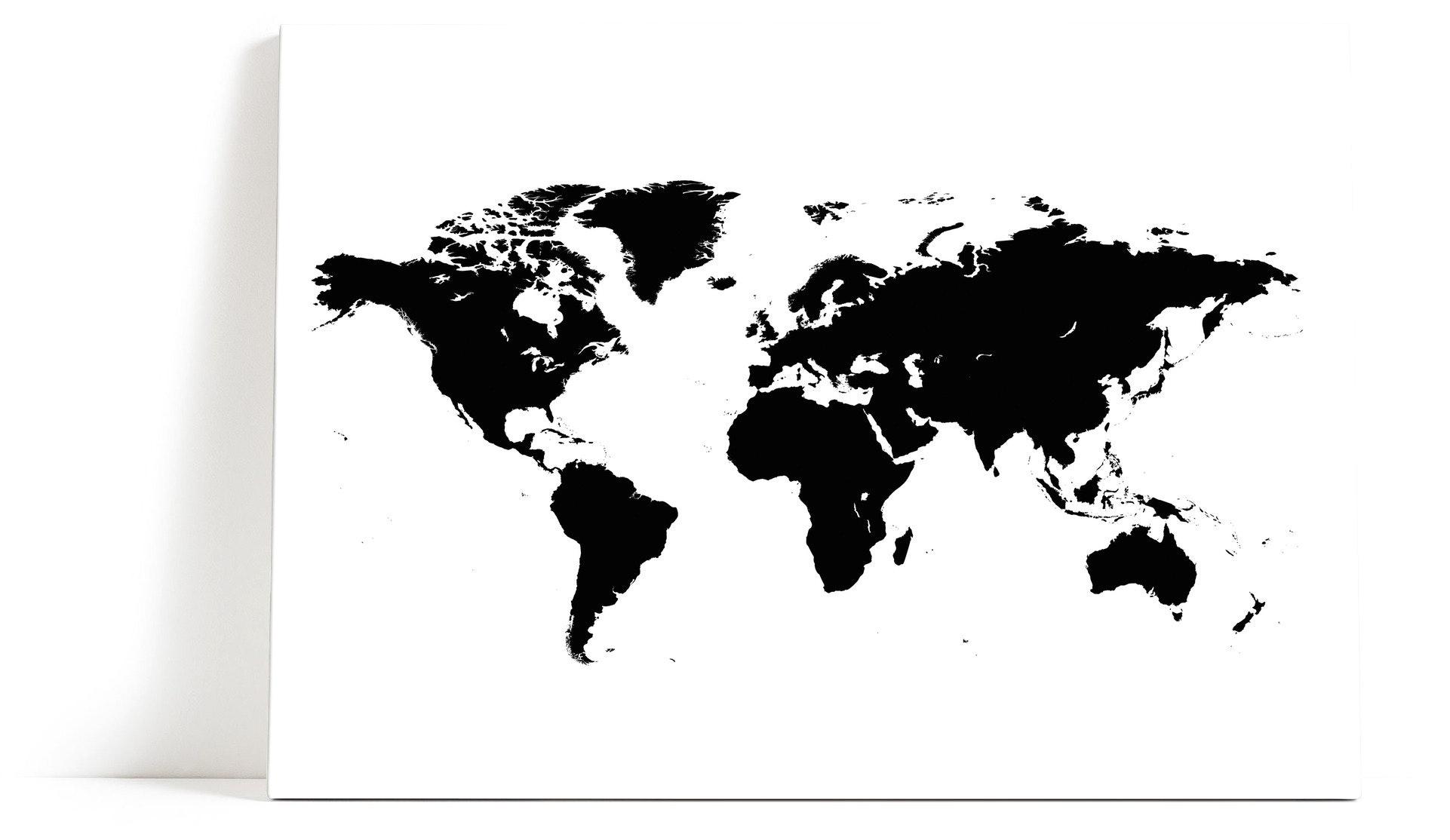 Världskarta svart Canvas