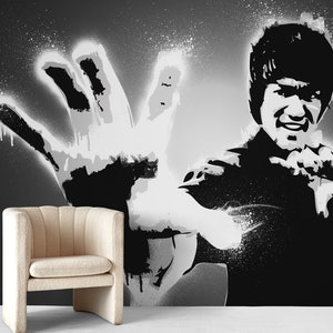 Bruce Lee Black And White Wall Mural