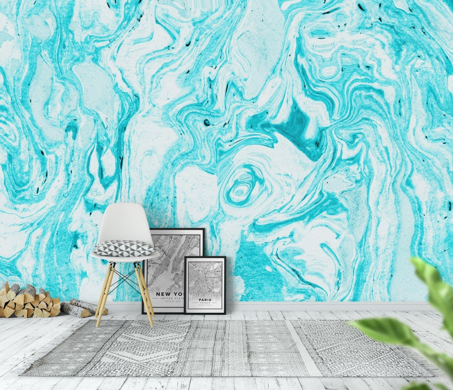 Buy Ocean Blue Marble Wall Mural Free Shipping At Happywall Co Uk