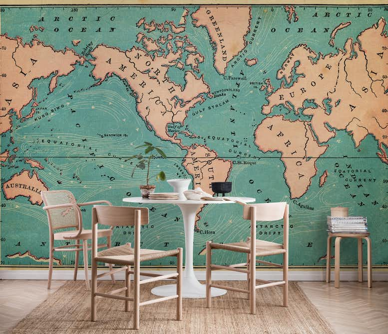 world map retro wall mural