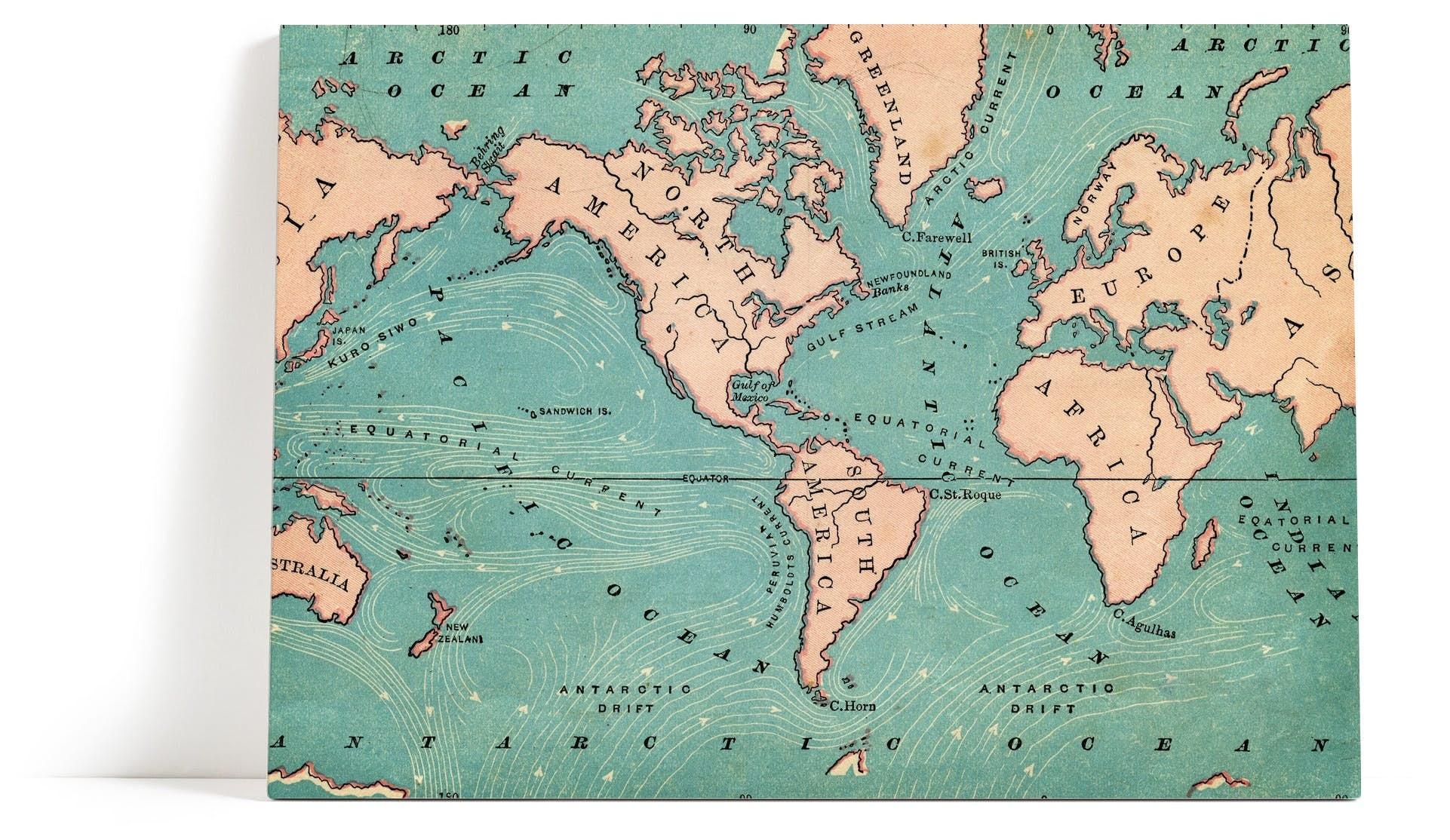 Enormt Verdenskart retro Veggbilde | Gamle kartet | Rosa | Hav - Happywall PX-24
