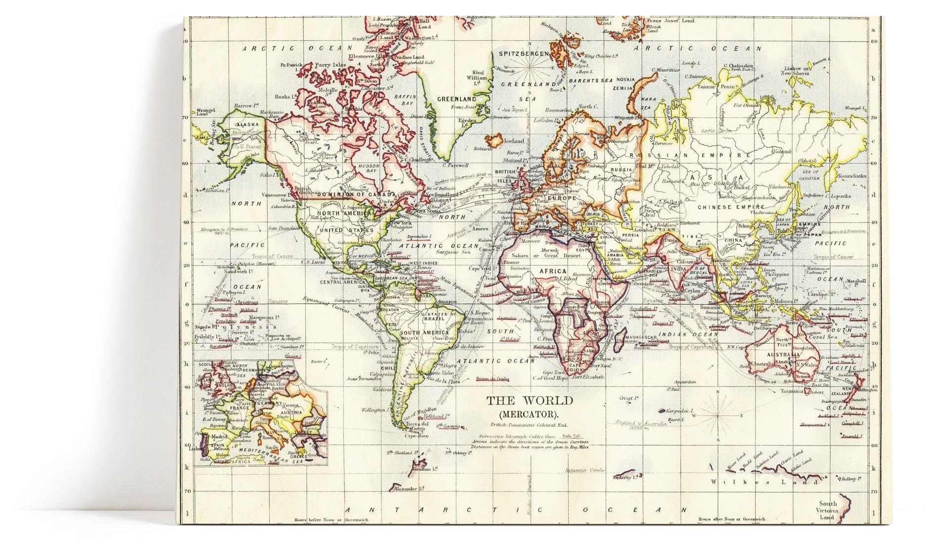 Ryddig Gammel verdenskart Veggbilde | Antikk | Verdenskart - Happywall FI-11