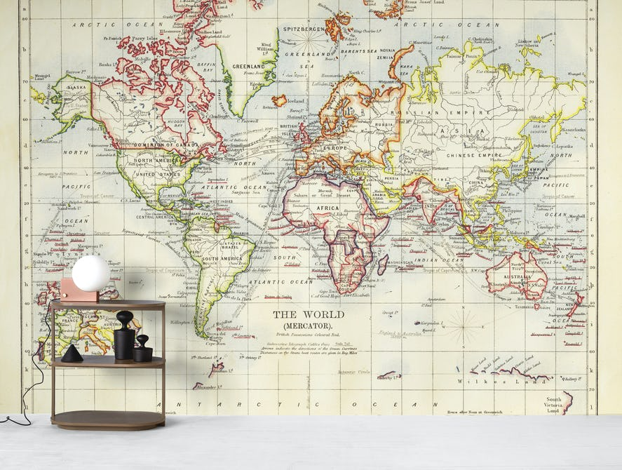 Buy Old World Map Wall Mural Free Us Shipping At Happywall Com