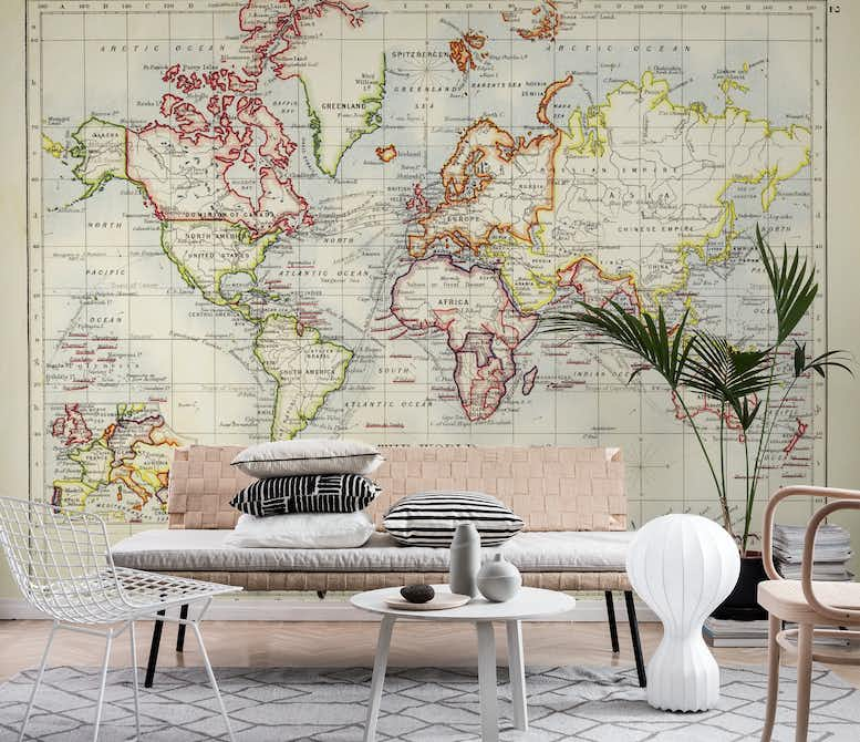 Old world map wall mural photo wallpaper retro happywall old world map wall mural gumiabroncs Image collections