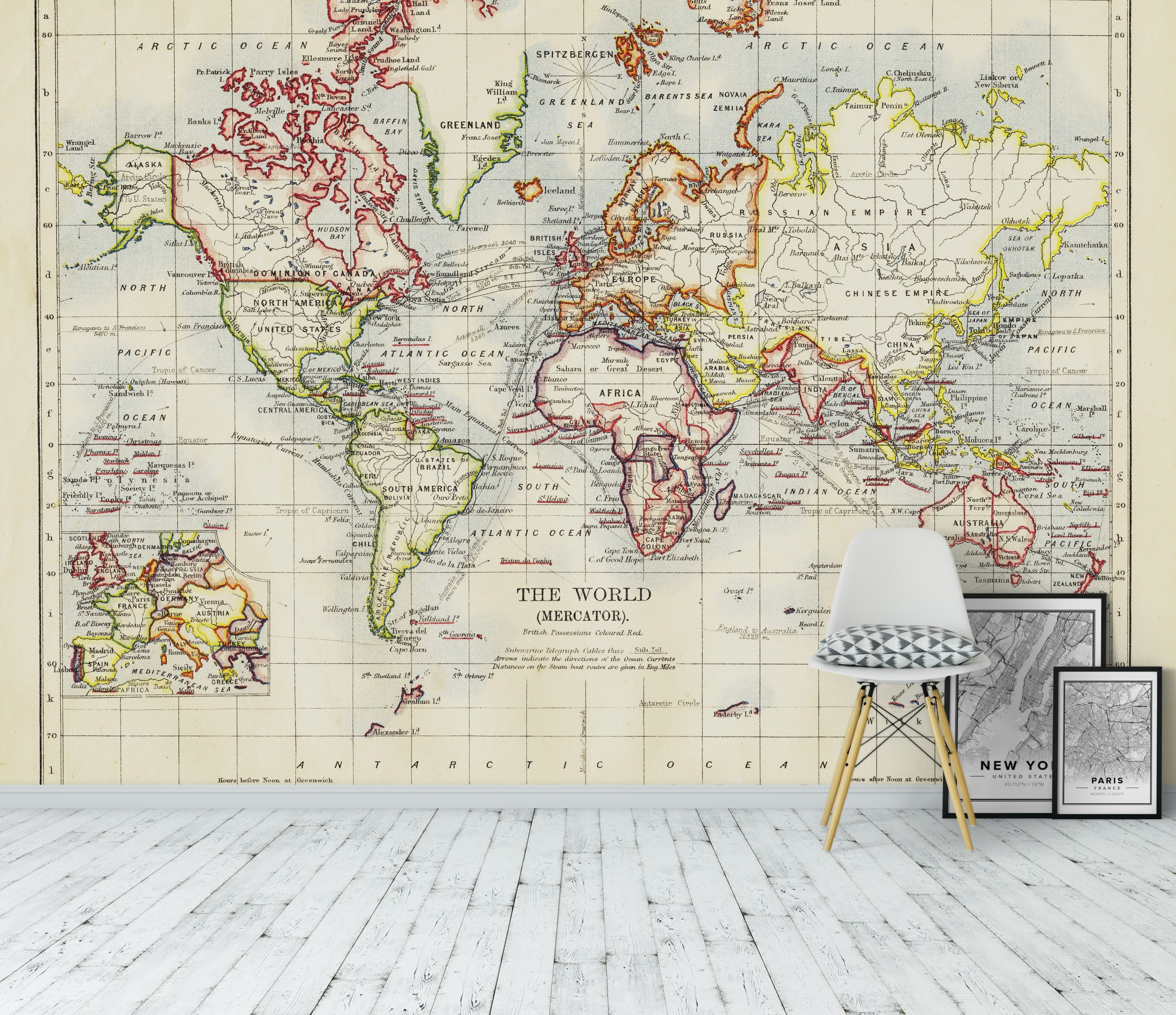 Wall mural old world map photo wallpaper antique for Antique world map wallpaper mural
