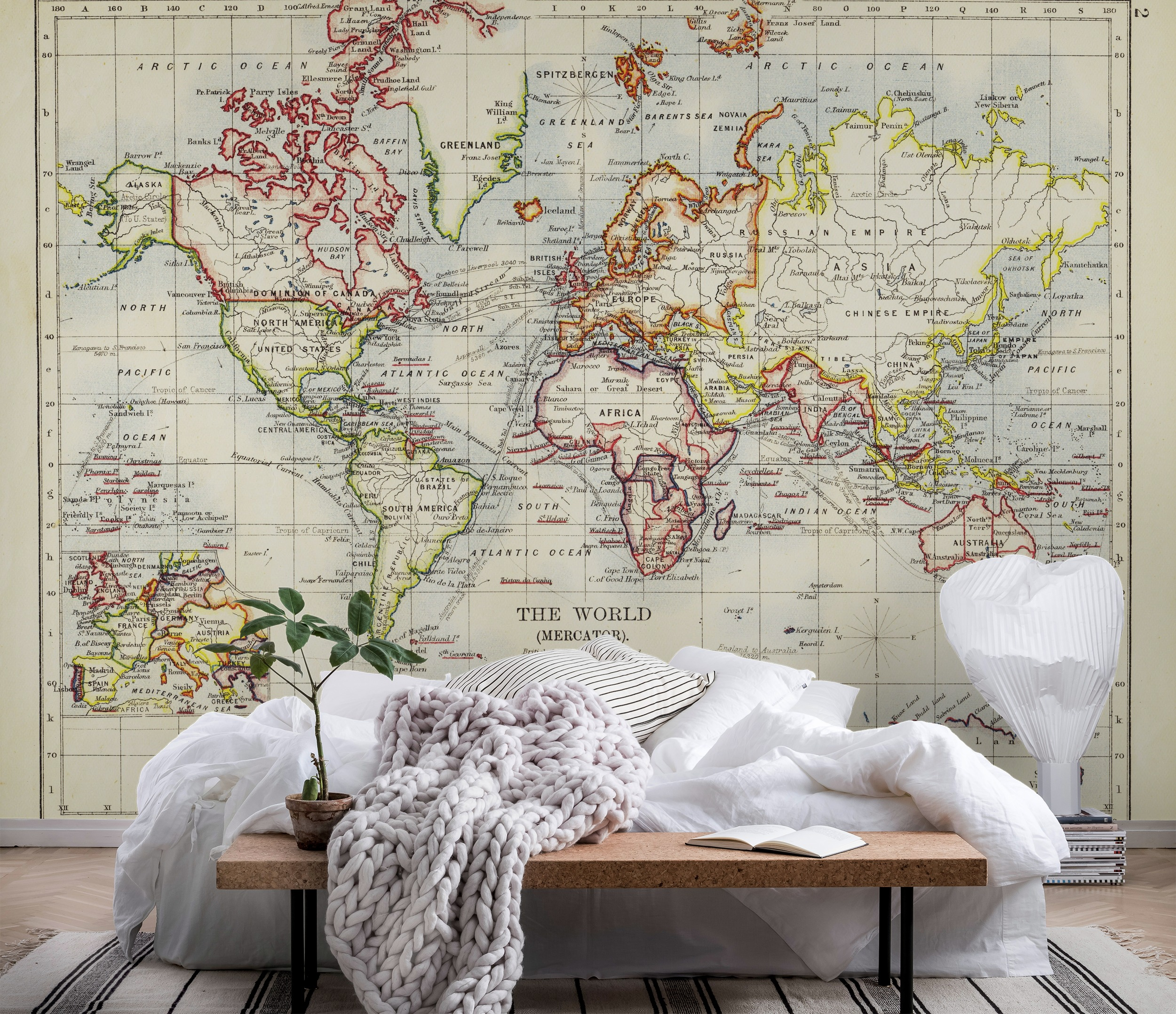 Wall mural old world map photo wallpaper antique for Antique map mural