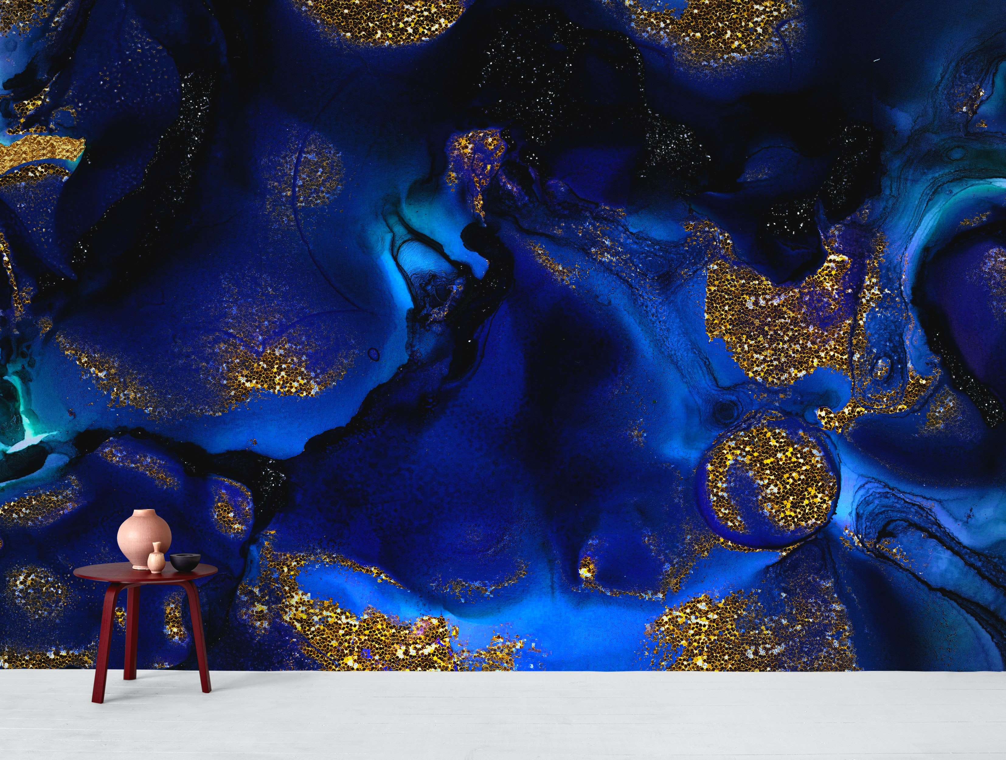 Buy Indigo Blue Marble And Gold Glitter Wallpaper Free Us Shipping At Happywall Com