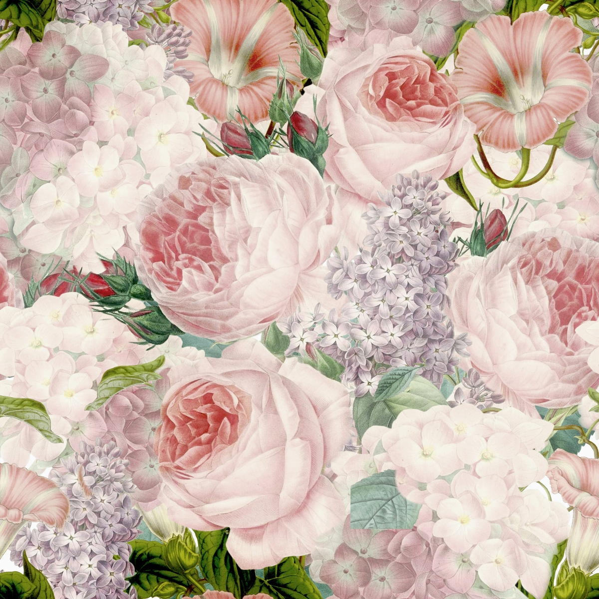 Flower Wall Murals Uk Lush Vintage Roses And Lilac Wall Mural Happywall