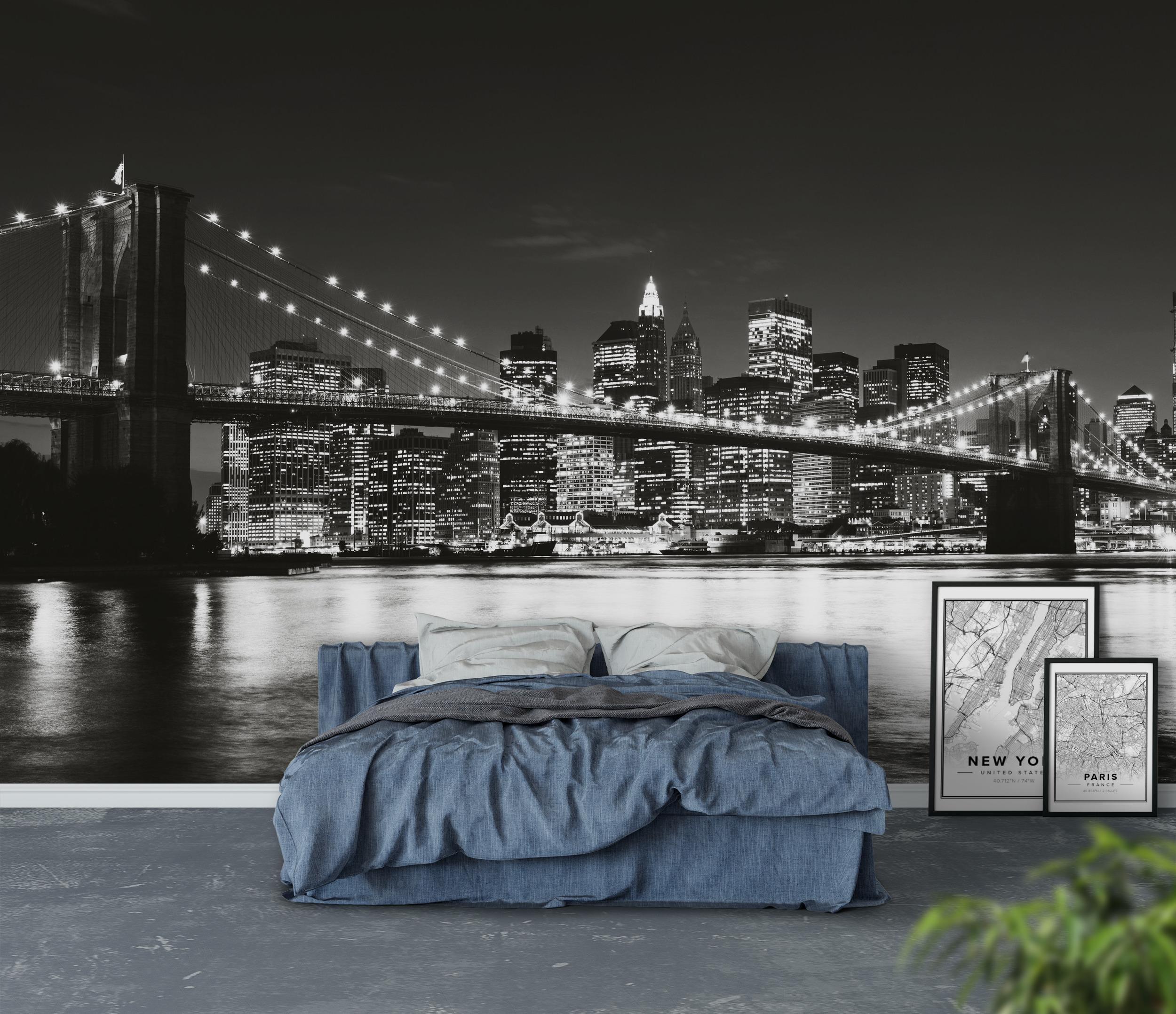 Wall mural brooklyn bridge black and white new york for Brooklyn bridge black and white wall mural