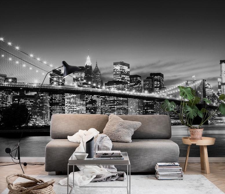 Brooklyn Bridge black and white Wall mural New York Happywall