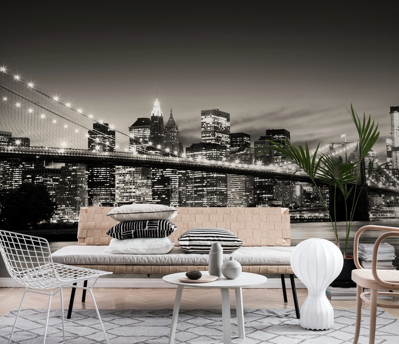 Brooklyn Bridge sepia Wall mural Photo wallpaper Happywall