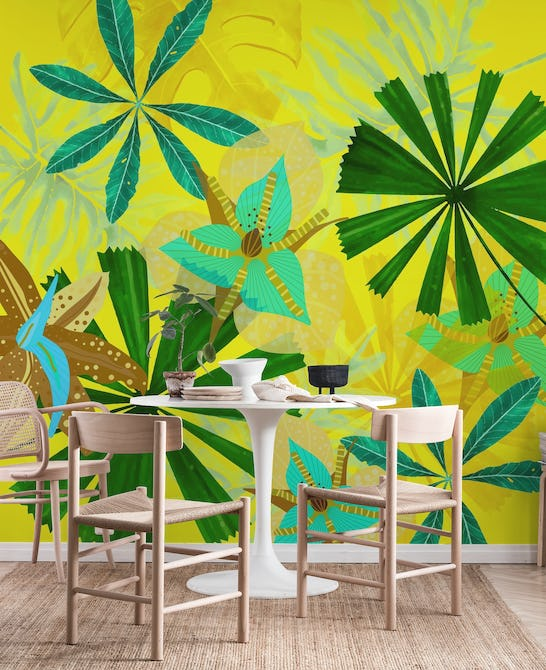 Colorful Yellow And Green Flower Jungle Wall Mural
