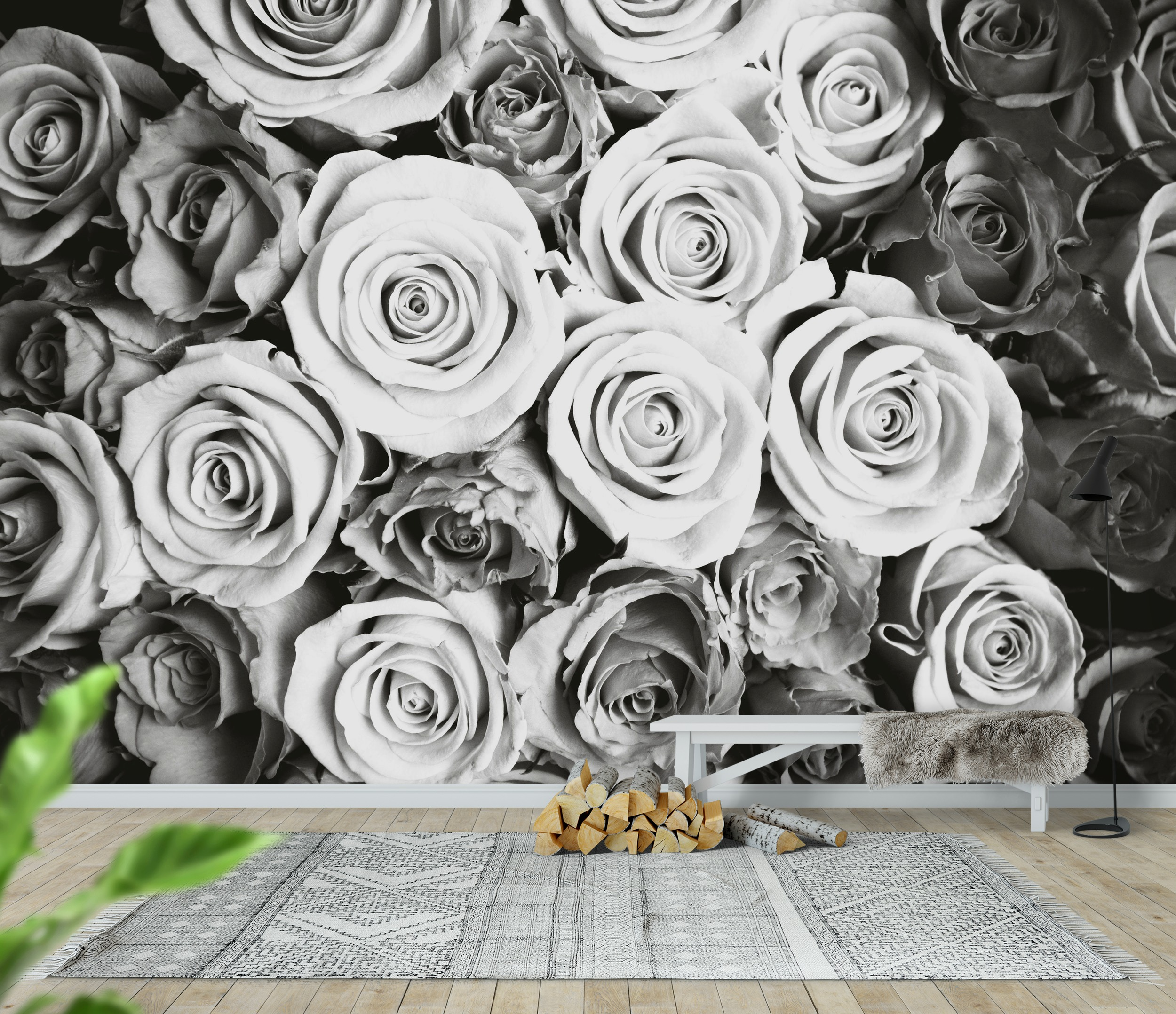 Wall mural roses black and white photo wallpaper happywall for Black and white rose wall mural