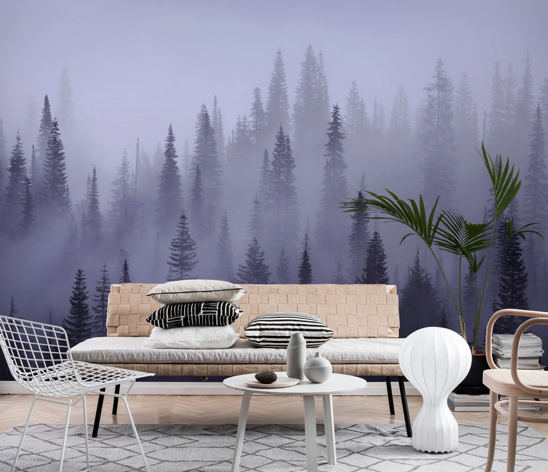 Misty forest Wall mural Photo wallpaper Large Fog Happywall