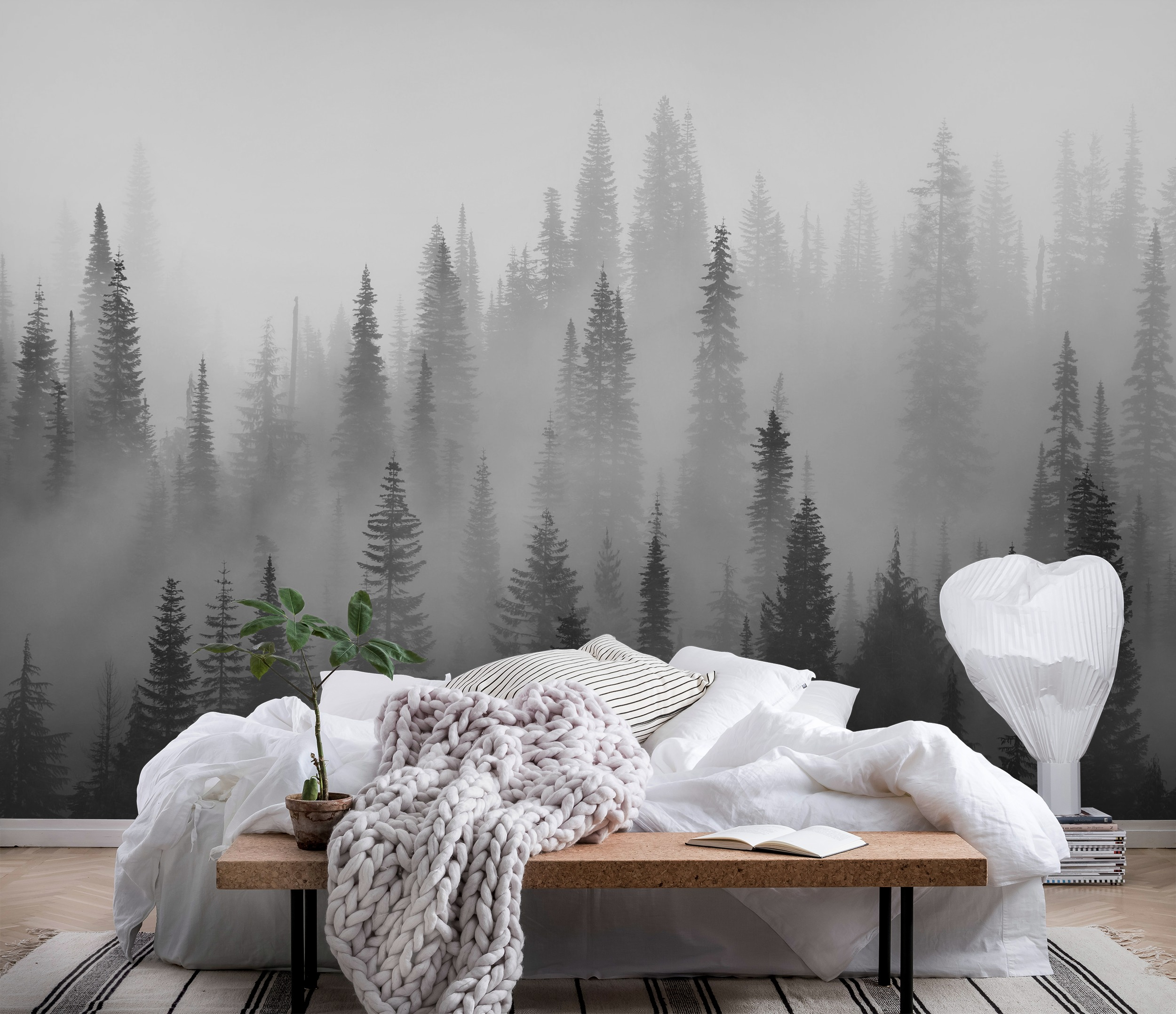 Wall mural misty forest black and white branches happywall for Black and white forest wall mural