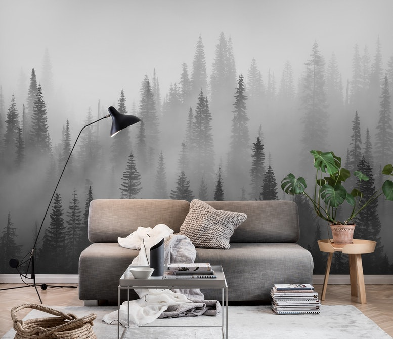 Misty forest black and white Wall mural Forest Grey Happywall