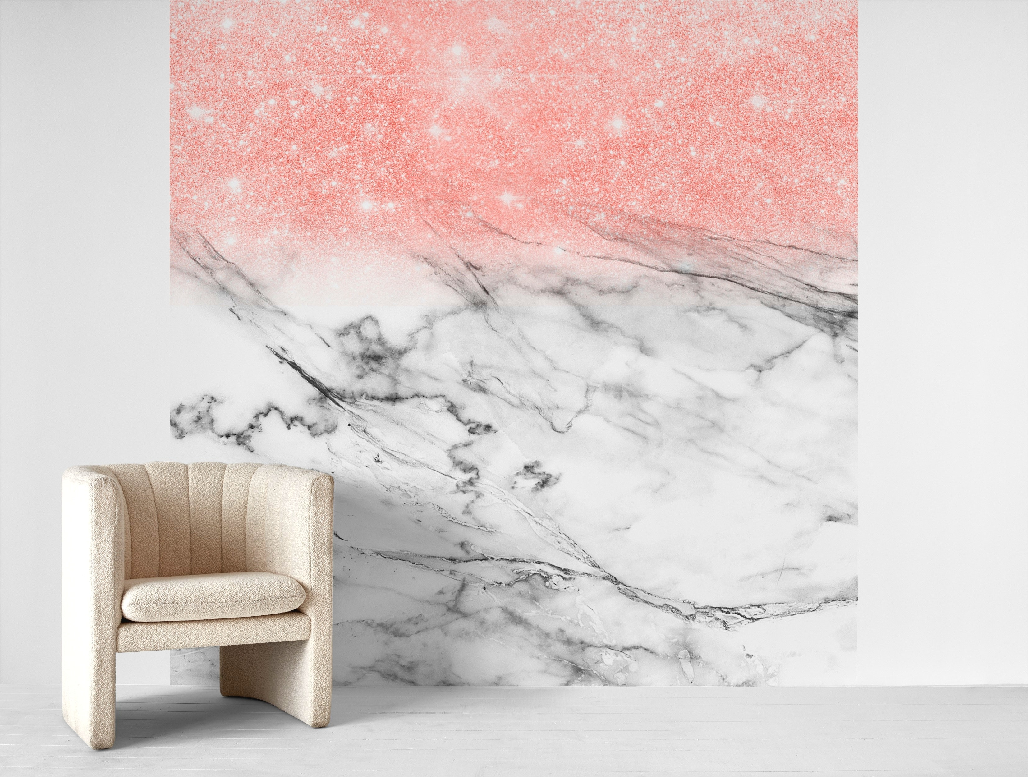 Buy Rose Gold Glitter On Marble Wallpaper Free Us Shipping At Happywall Com