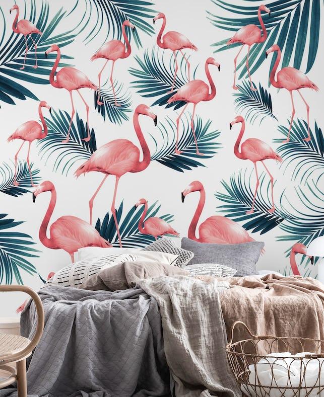 Buy Summer Flamingo Palm Vibes 1 Wall Mural Free Shipping At