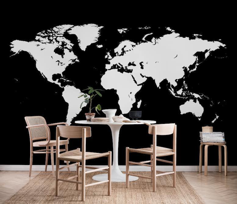 world map white wall mural