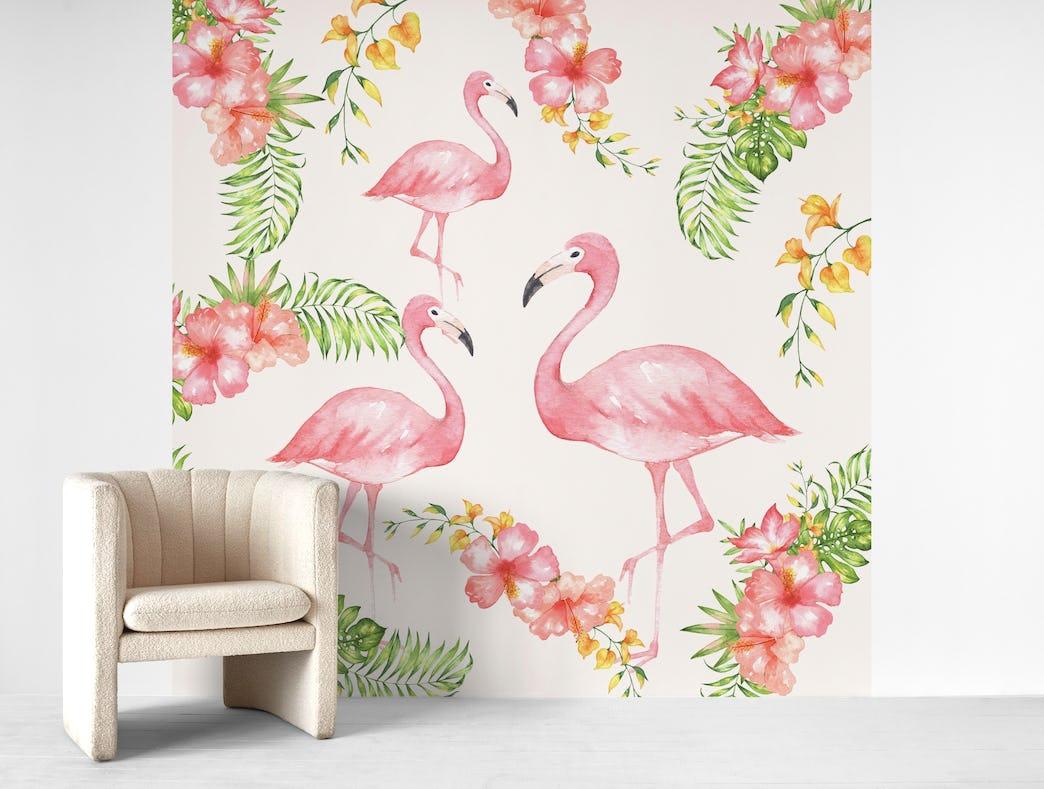 Buy Flamingos Wall Mural Free Shipping At Happywall Co Uk