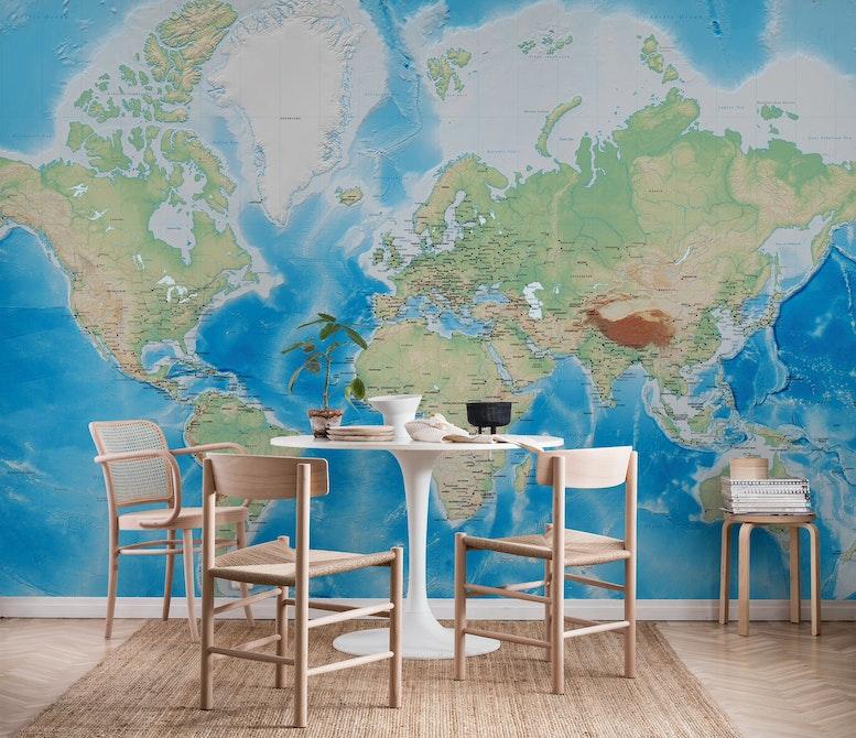 kart tapet Verdenskart Tapet | Fototapet | Detaljert kart | Verden   Happywall kart tapet