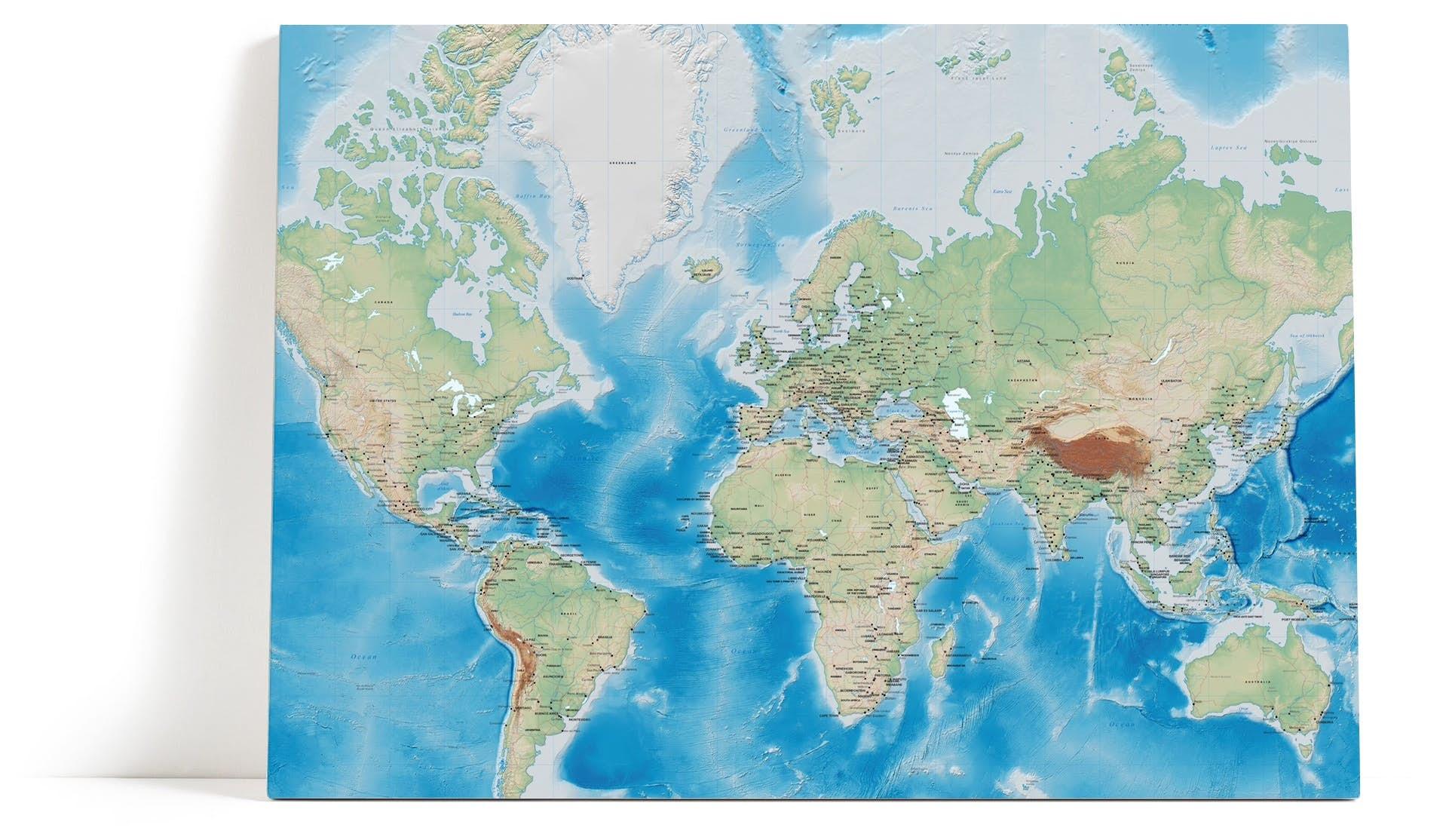 Topp Verdenskart Veggbilde | Detaljert kart | Verden | Fjell - Happywall UY-29