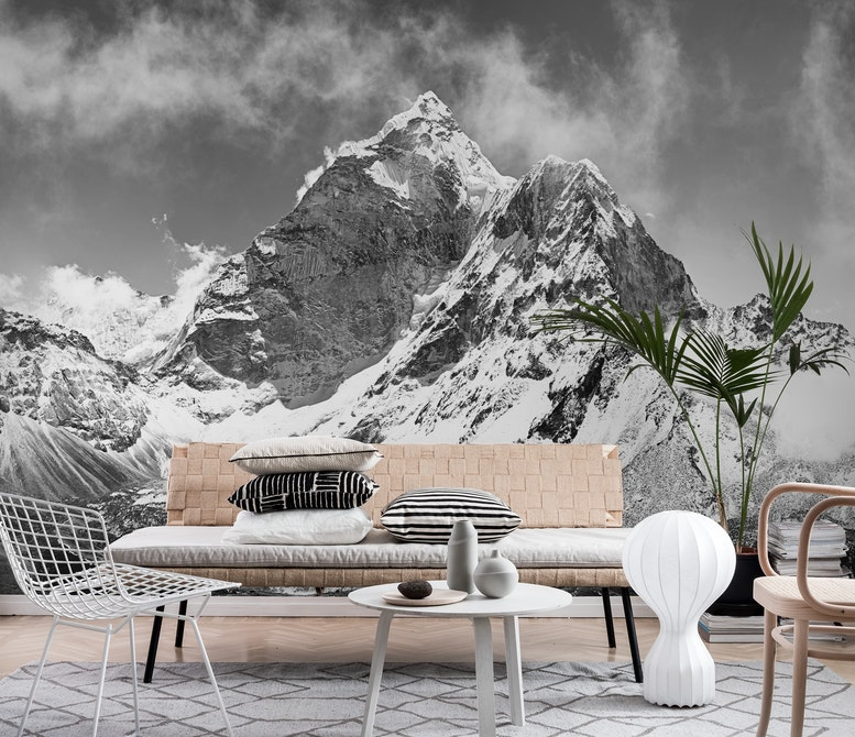 Black and white mountains Wall mural Photo wallpaper Happywall