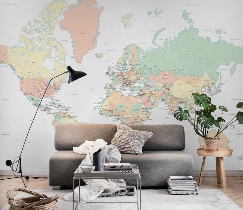World map countries wall mural photo wallpaper maps happywall world map countries wall mural gumiabroncs Image collections