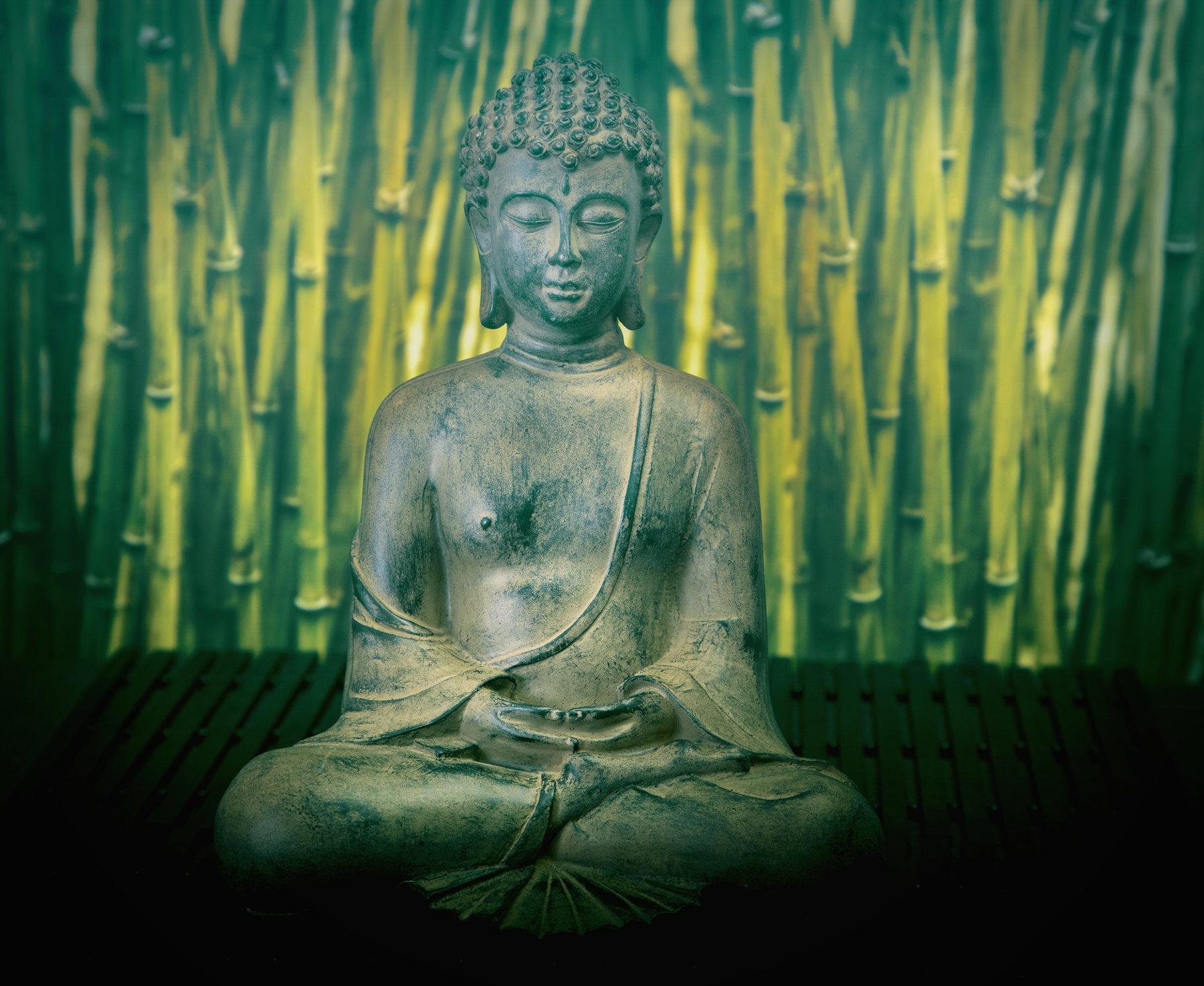 Buddha Green Bamboo Wall Mural/Wallpaper Nature