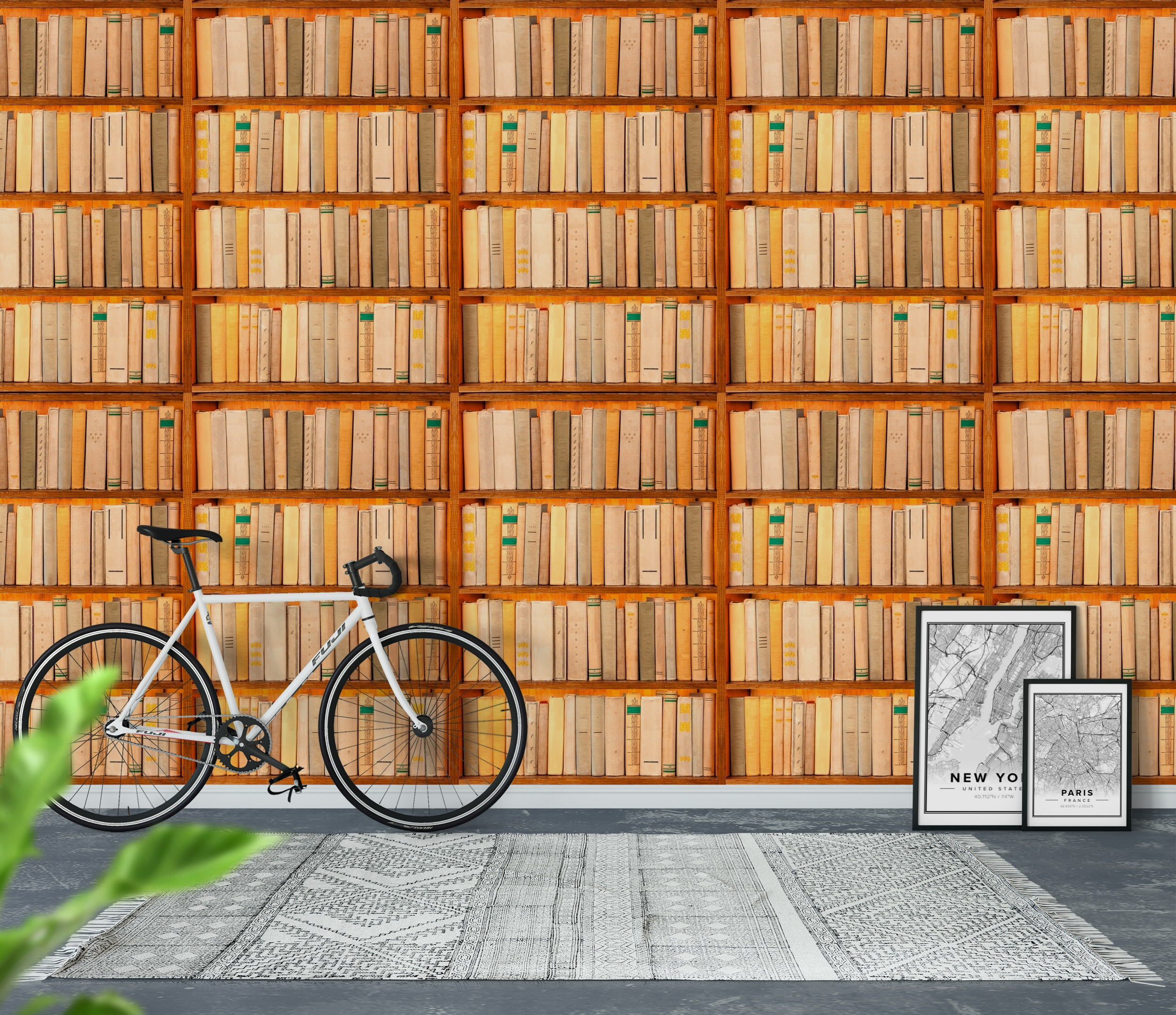 Wall mural bookshelf photo wallpaper books books for Bookshelf wall mural