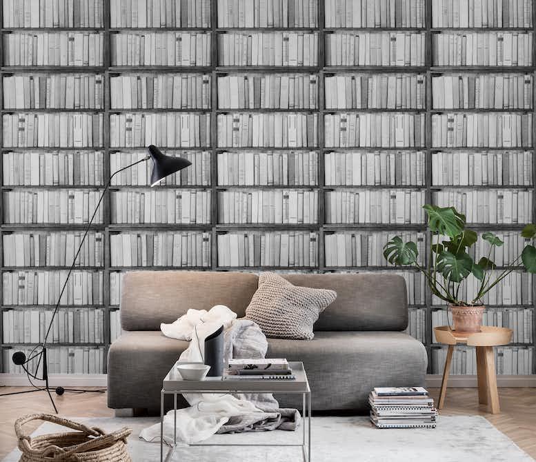 Black And White Bookshelf Wall Mural
