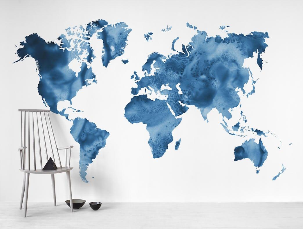 Buy Watercolor World Map Wall Mural Free Shipping At Happywall Co Uk