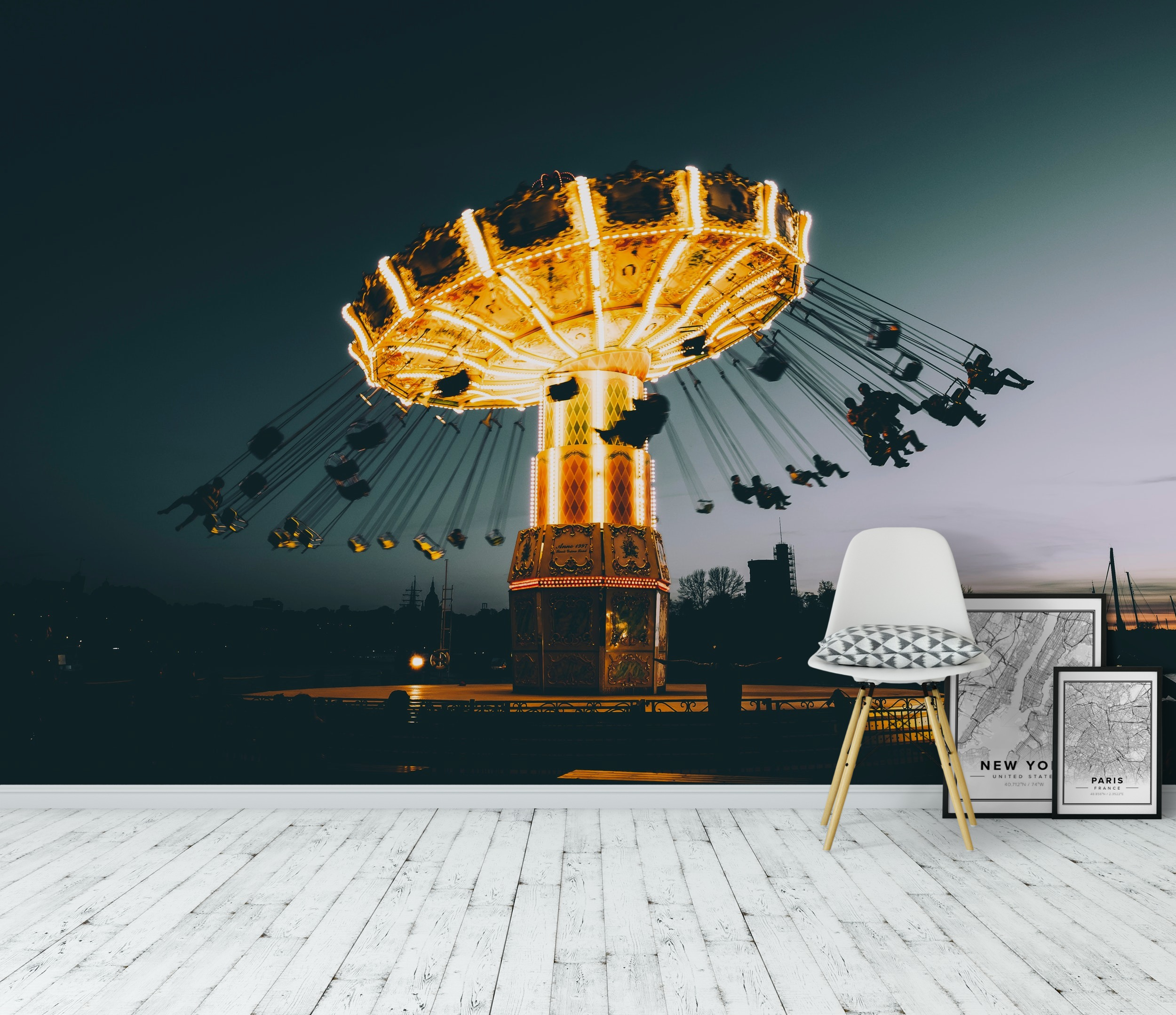 Wall mural gr na lund carousel photo wallpaper happywall for Carousel wall mural